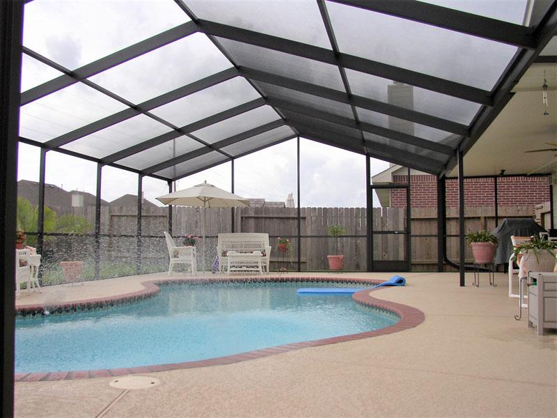 Pool screen enclosures houston patio enclosures shade for Pool enclosures houston